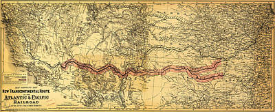 Maps Painting - Map Of The Atlantic Pacific Railroad 1883 by MotionAge Designs