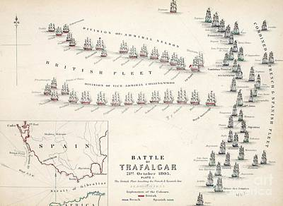 Hand Engraving Drawing - Map Of The Battle Of Trafalgar by Alexander Keith Johnson
