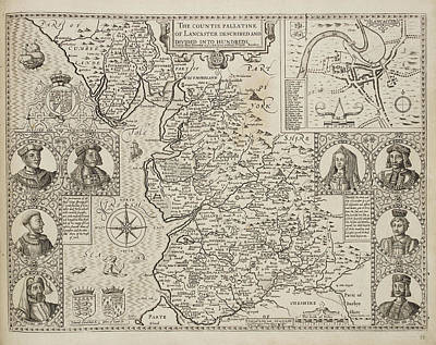 Map Of The County Of Lancashire Art Print by British Library