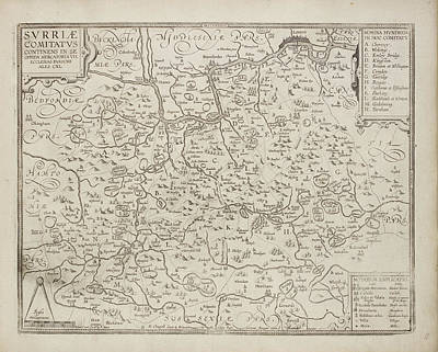 Map Of The County Of Surrey Art Print by British Library