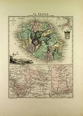 Map Of The Democratic Republic Of The Congo La Runion Art Print