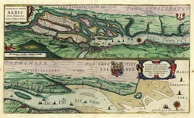 Map Of The Elbe River Art Print by Library Of Congress, Geography And Map Division