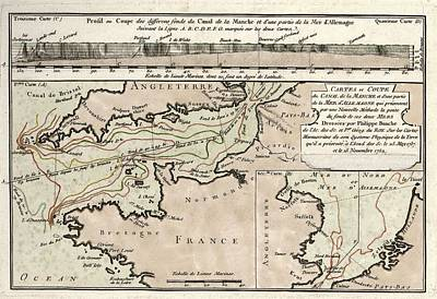 Map Of The English Channel Art Print by Library Of Congress, Geography And Map Division