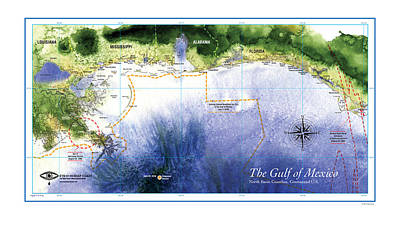 Map Of The Gulf Of Mexico Northern Coast Art Print
