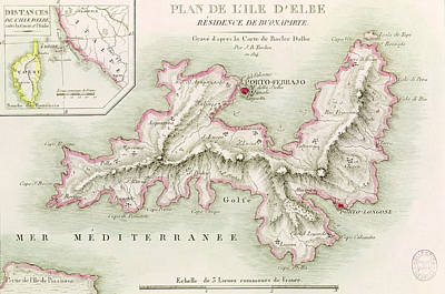 Border Drawing - Map Of The Island Of Elba by Baron Louis Albert Bacler d'Albe