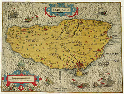 Azores Photograph - Map Of The Island Of Tercera by British Library