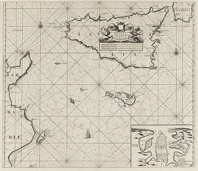 Map Of The Islands Of Sicily And Malta And Part Art Print