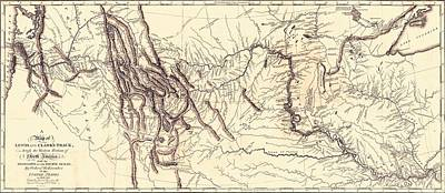 Discoveries Drawing - Map Of The Lewis And Clark American Expedition, 1804-1806, Published 1814 by American School
