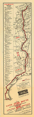 Texas Drawing - Map Of The Lone Star Route 1922 by Mountain Dreams