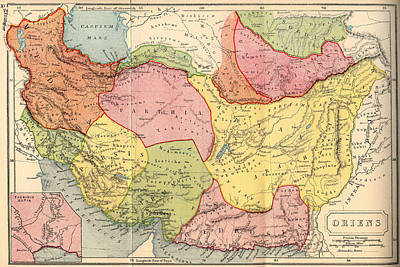 1907 Drawing - Map Of The Middle East 1907 by Mountain Dreams