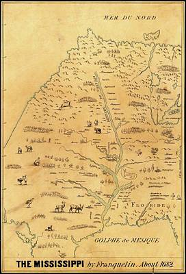 Map Of The Mississippi River Art Print by Library Of Congress, Geography And Map Division