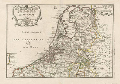 Loon Drawing - Map Of The Netherlands, 1701, Harmanus Van Loon by Quint Lox