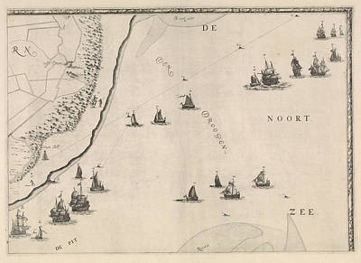 North Sea Drawing - Map Of The North Sea And The Coast Of Holland by Jacob Quack