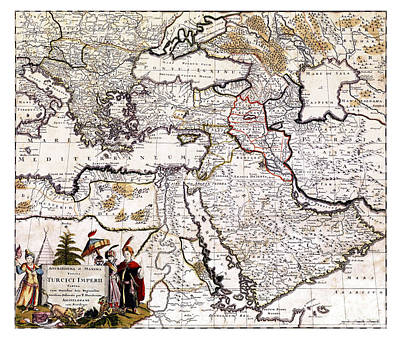 Old Map Painting - Map Of The Ottoman Empire - 18th Century by Pablo Romero