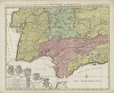 Portugal Map Drawings Fine Art America - Portugal map south