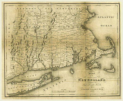 Map Of The Southern Part Of New England, 1823 Art Print