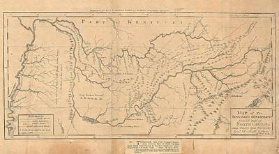 Map Of Tennessee Drawing - Map Of The Tennassee Government Formerly Part Of North Carolina  by Cody Cookston