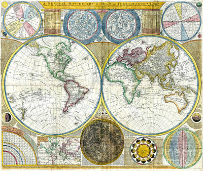 Cartography Painting - Map Of The World - 1794 by Pablo Romero