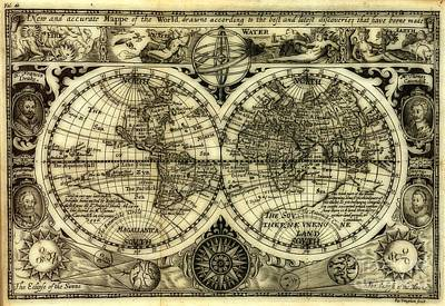 Map Of The World Antique Reproduction Art Print by Inspired Nature Photography Fine Art Photography