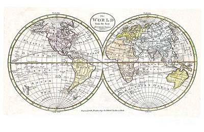 Vintage Map Painting - Map Of The World By Payne - 1798 by Pablo Romero