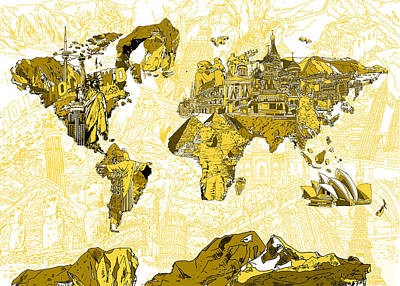 America The Continent Digital Art - Map Of The World Collage  by Bekim Art