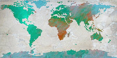 Cabin Interiors Digital Art - Map Of The World - Colors Of Earth And Water by Paulette B Wright