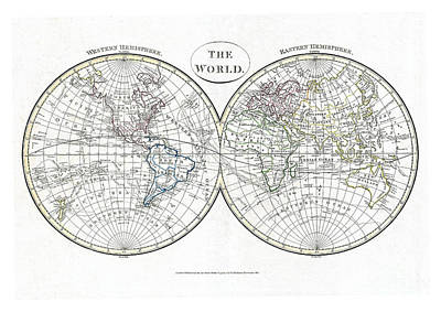 Vintage Map Painting - Map Of The World In Hemispheres By  Cruttwell - 1799 by Pablo Romero