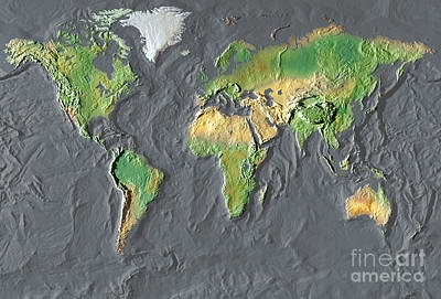 In Relief Photograph - Map Of The World In Relief by Mike Agliolo