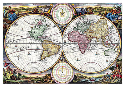 Vintage Map Painting - Map Of The World In Two Hemispheres - 1730 by Pablo Romero