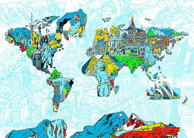 Paris Painting - Map Of The World Landmark Collage 2 by Bekim Art