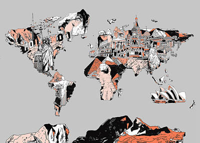 Mapping Painting - Map Of The World Landmark Collage by Bekim Art