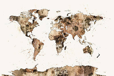 Map Of The World Map Sepia Watercolor Art Print by Michael Tompsett
