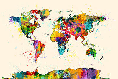 Country Digital Art - Map Of The World Map Watercolor by Michael Tompsett