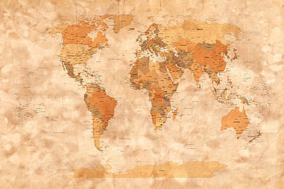 Map Of The World Art Print by Michael Tompsett