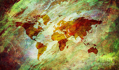 Art Print featuring the digital art Map Of The World by Mohamed Elkhamisy