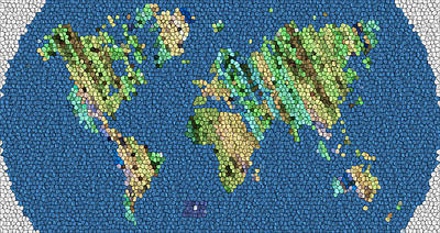 Digital Art - Map Of The World Mosaic by Radoslav Nedelchev
