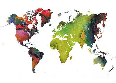 Map Of The World Red Green Art Print by Justyna JBJart