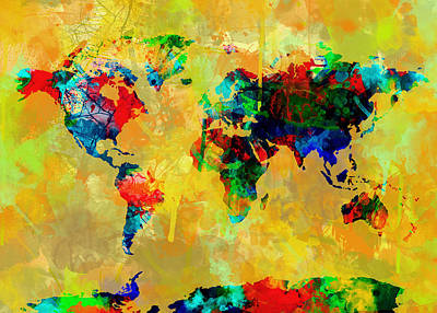 Globe Painting - Map Of The World Watercolor 2 by Bekim Art