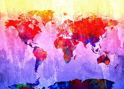 America The Continent Digital Art - Map Of The World Watercolor 3 by Bekim Art