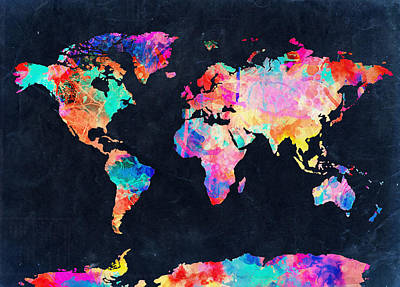 America The Continent Painting - Map Of The World Watercolor 4 by Bekim Art