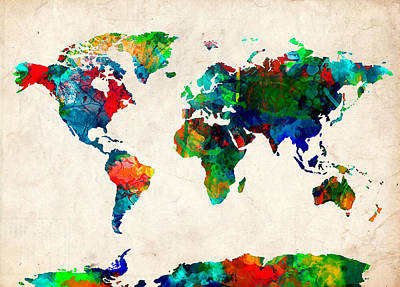 Globe Painting - Map Of The World Watercolor 5 by Bekim Art