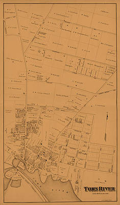 Vintage Map Photograph - Map Of Toms River 1878 by Andrew Fare