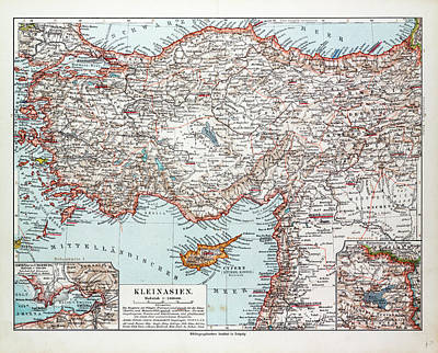 Cyprus Drawing - Map Of Turkey Cyprus And Syria 1899 by Cyprian School