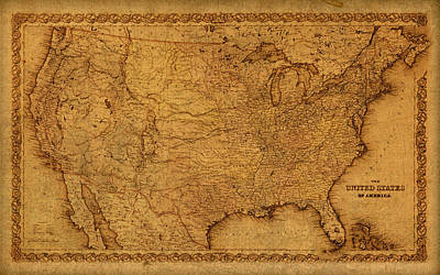 Map Of United States Of America Vintage Schematic Cartography Circa 1855 On Worn Parchment  Art Print by Design Turnpike