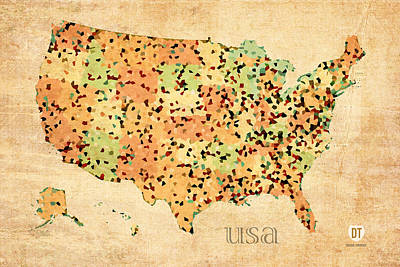 Map Of United States Of America With Crystallized Counties On Worn Parchment Art Print
