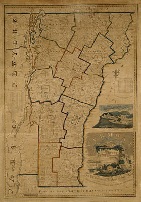 Vintage Map Photograph - Map Of Vermont 1824 by Andrew Fare