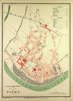 Map Of Vichy France Art Print by French School