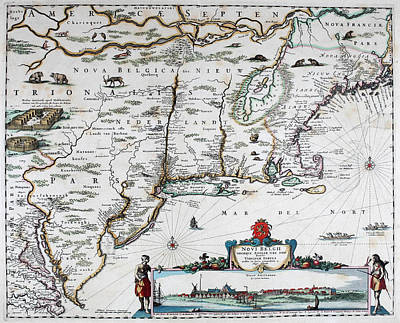 Netherlands Mixed Media - Map Of Virginia - 1665 by Charlie Ross