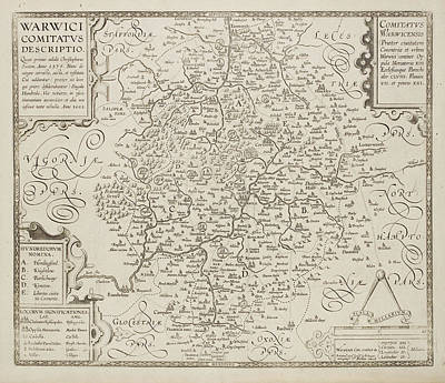 Map Of Warwickshire And Warwick Print by British Library
