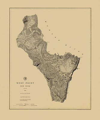 Map Of West Point 1883 Art Print